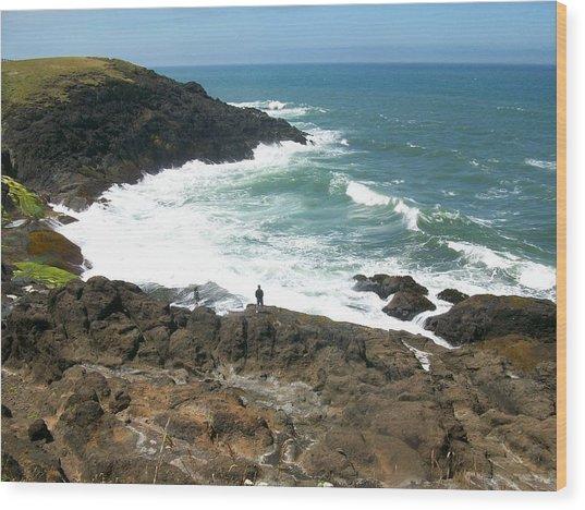 Rocky Ocean Coast Wood Print