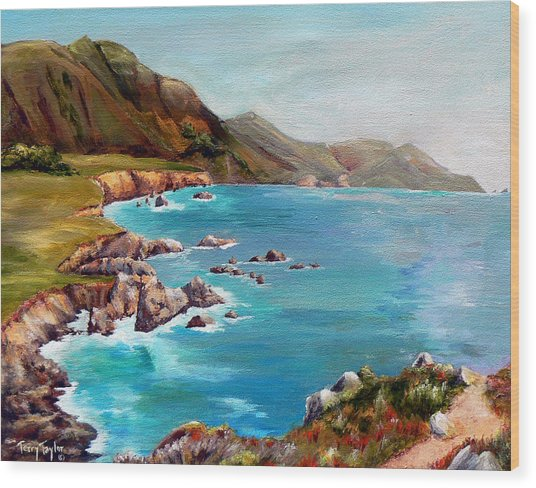 Rocky Point At Big Sur Wood Print