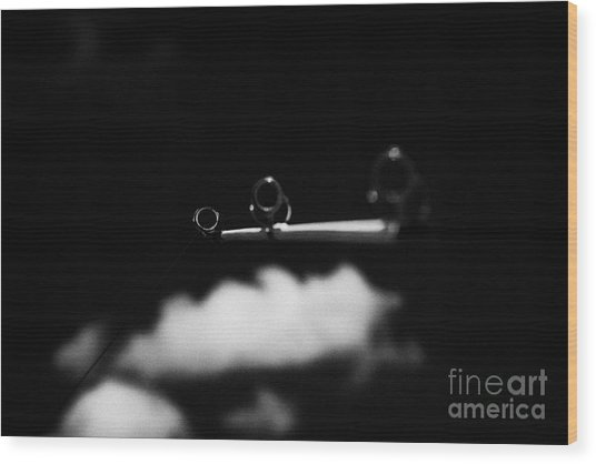 Rod And Line Fishing Against Sky Wood Print by Joe Fox