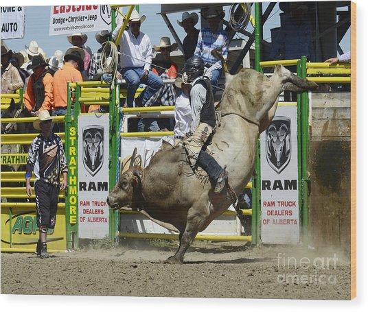 Rodeo Bull Riding Star Wood Print