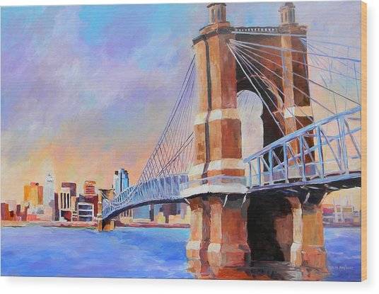 Roebling Twilight Wood Print