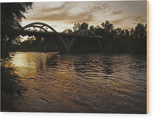 Rogue River Sunset Wood Print