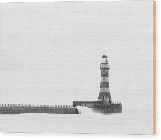 Roker Pier And Lighthouse, Sunderland, Uk Wood Print by Jason Friend Photography Ltd