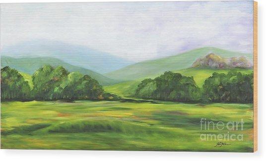 Rolling Hills In Springtime Wood Print