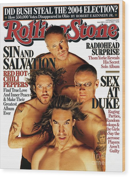 Rolling Stone Cover - Volume #1002 - 6/15/2006 - Red Hot Chili Peppers Wood Print by Matthew Rolston