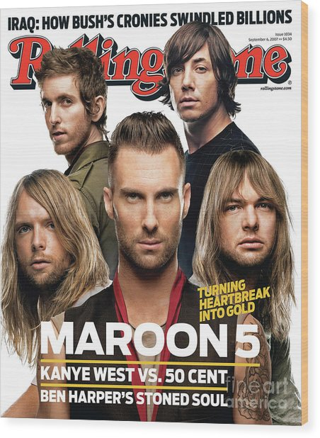Rolling Stone Cover - Volume #1034 - 9/6/2007 - Maroon 5 Wood Print