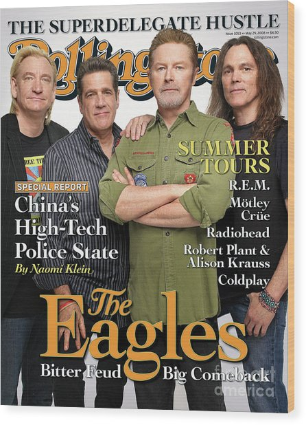 Rolling Stone Cover - Volume #1053 - 5/29/2008 - The Eagles Wood Print