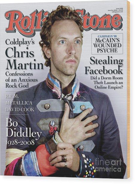 Rolling Stone Cover - Volume #1055 - 6/26/2008 - Chris Martin Wood Print
