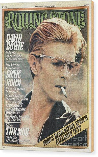 Rolling Stone Cover - Volume #206 - 2/12/1976 - David Bowie Wood Print by Steve Schapiro