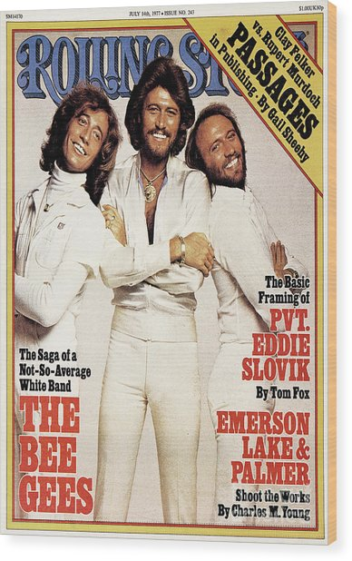 Rolling Stone Cover - Volume #243 - 7/14/1977 - Bee Gees Wood Print