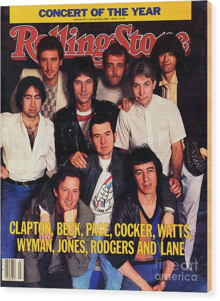Rolling Stone Cover - Volume #413 - 1/19/1984 - Arms Concert Wood Print by Bonnie Schiffman