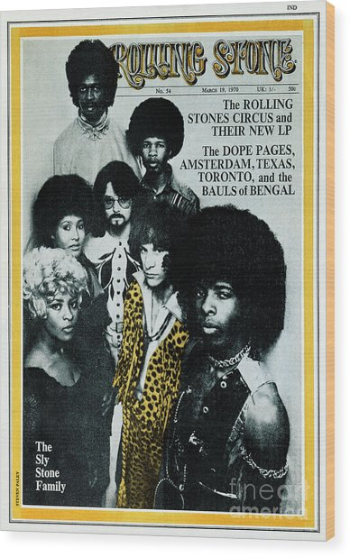Rolling Stone Cover - Volume #54 - 3/19/1970 - Sly And The Family Stone Wood Print