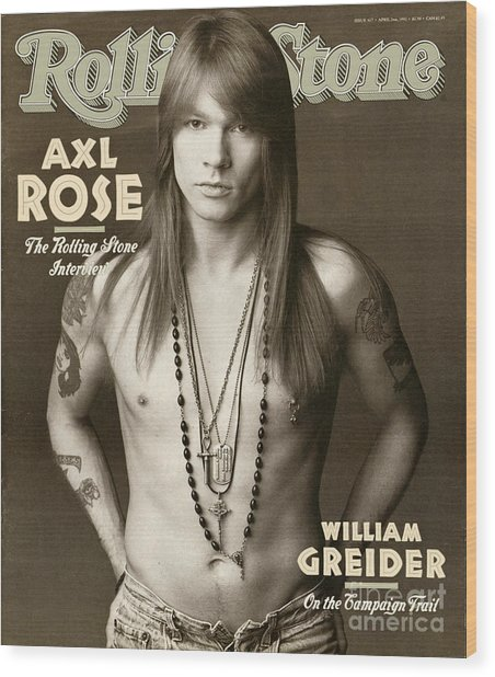 Rolling Stone Cover - Volume #627 - 4/2/1992 - Axl Rose Wood Print