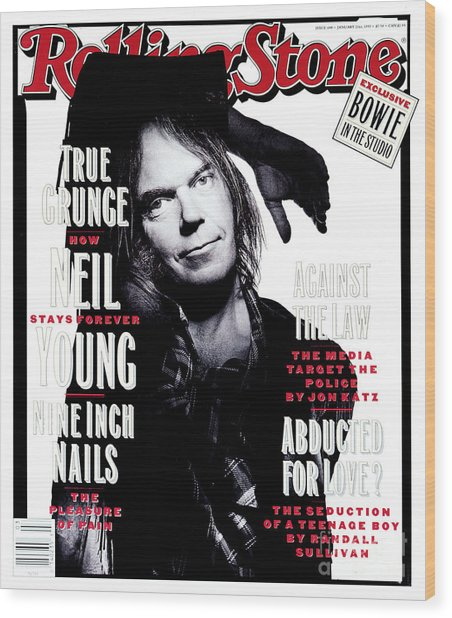 Rolling Stone Cover - Volume #648 - 1/21/1993 - Neil Young  Wood Print by Mark Seliger
