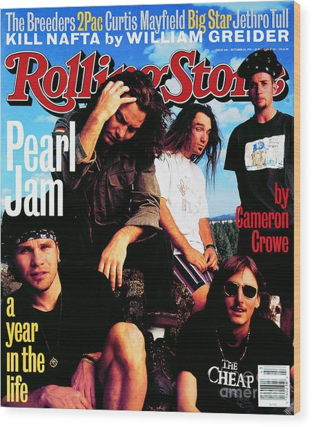 Rolling Stone Cover - Volume #668 - 10/28/1993 - Pearl Jam Wood Print by Mark Seliger