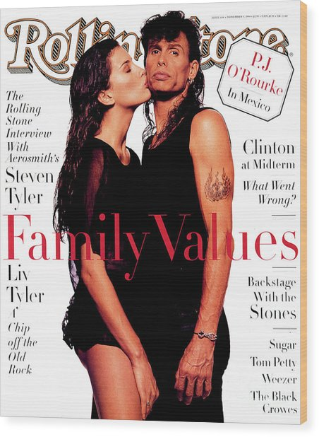 Rolling Stone Cover - Volume #694 - 11/3/1994 - Liv And Steven Tyler Wood Print