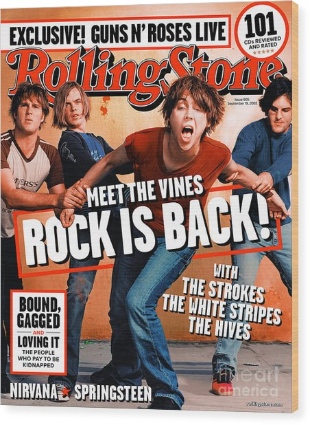 Rolling Stone Cover - Volume #905 - 9/19/2002 - The Vines Wood Print
