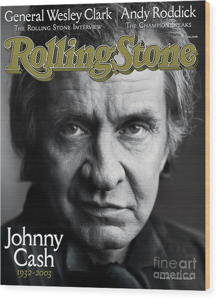 Rolling Stone Cover - Volume #933 - 10/16/2003 - Johnny Cash Wood Print