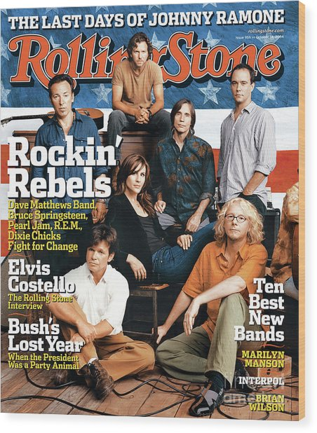 Rolling Stone Cover - Volume #959 - 10/14/2004 - Voices For Change Wood Print by Norman Jean Roy