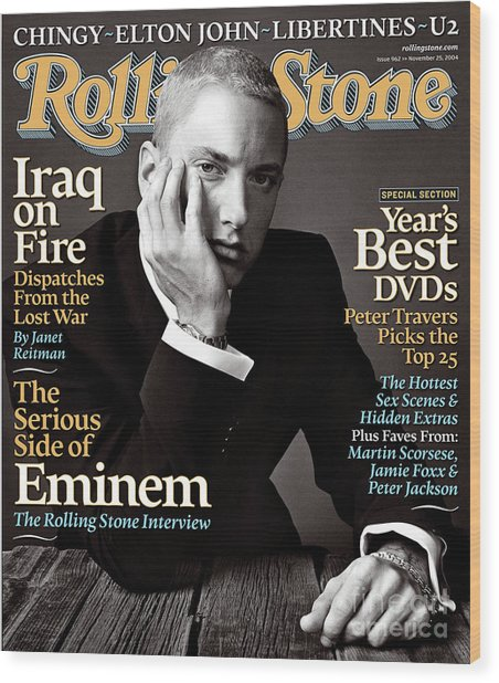 Rolling Stone Cover - Volume #962 - 11/25/2004 - Eminem Wood Print by Norman Jean Roy