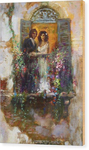 Romance In Venice  Fragment Balcony Wood Print