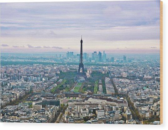 Romantic Paris Wood Print by Photo by Volanthevist