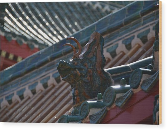 Rooftop Dragon Wood Print
