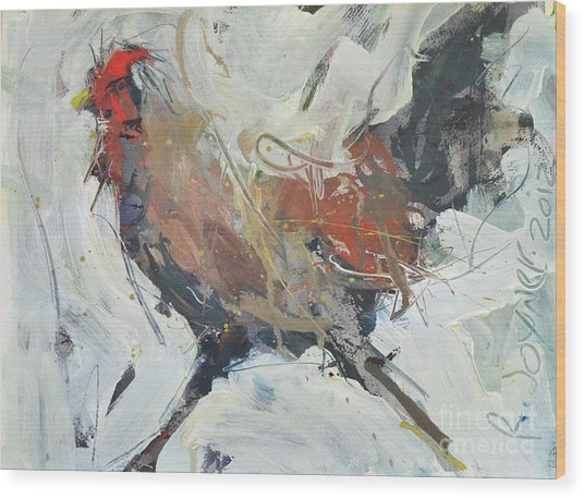 Rooster Art  Wood Print