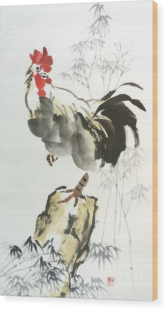 Rooster Wood Print