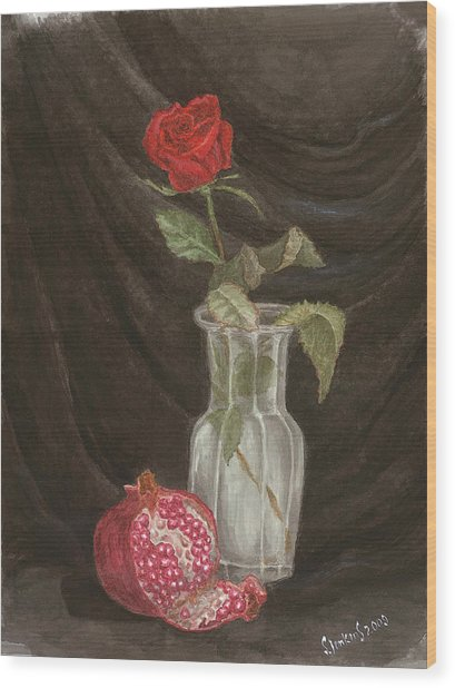 Rose And Pomegranate Wood Print