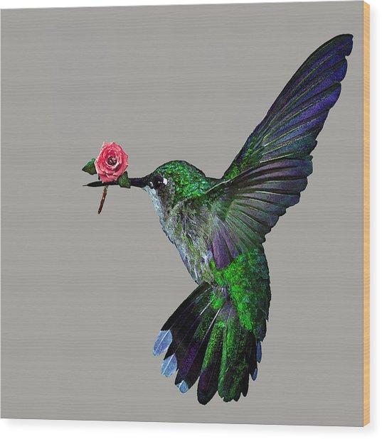 Rose Baring Bird Wood Print by Carly Ralph