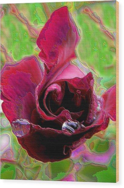 Rose Contours Wood Print