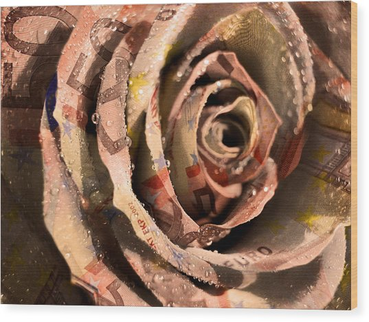 Rose Money Wood Print
