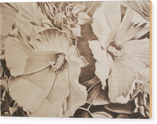 Rose Of Sharon Wood Print by Yvonne Scott