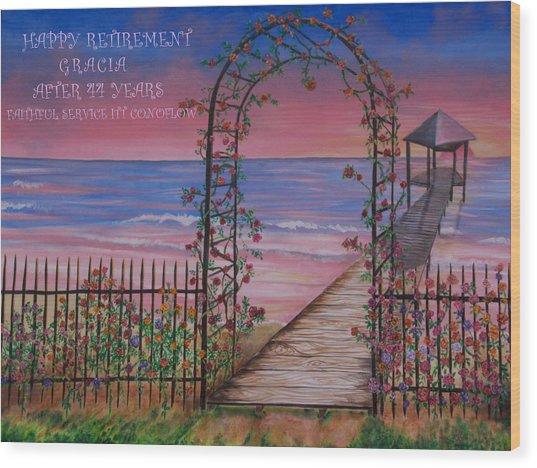 Rose Trellis Retirement Wood Print