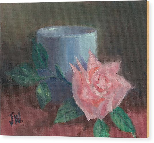 Rose With Blue Cup Wood Print
