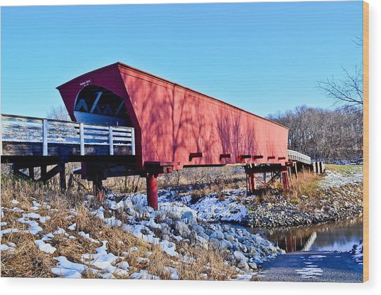 Roseman Covered Bridge Wood Print by Julio n Brenda JnB