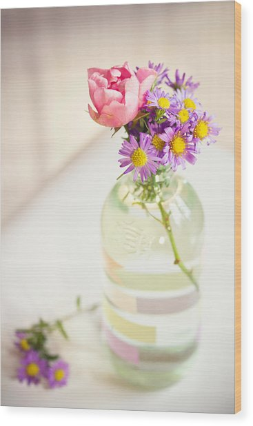 Roses And Aster In Glass Bottle Wood Print by Helena Schaeder Söderberg