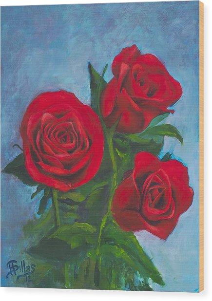 Roses Wood Print by Herman Sillas