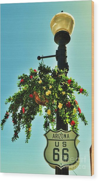 Route 66 Williams Arizona Wood Print by George Sylvia