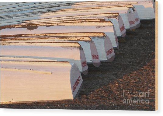 Row Boats Wood Print