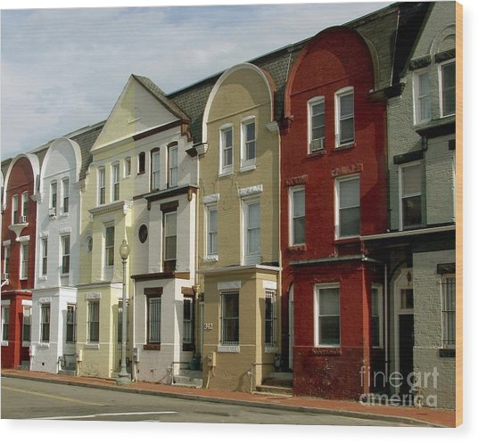 Row Houses Wood Print