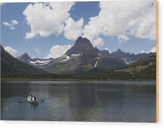 Rowboat At Many Glacier Wood Print