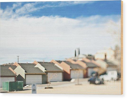 Rows Of Duplex Garages Wood Print by Eddy Joaquim