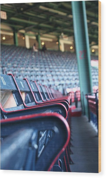 Rows Of Empty Field Box Seats At Fenway Boston Wood Print by Loud Waterfall Photography Chelsea Sullens