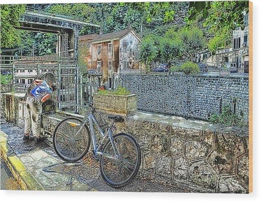 Roya Valley Breil Sur Roya Drinking Before To Go Wood Print by Enrico Pelos
