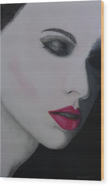 Ruby Lips Wood Print by David Hawkes