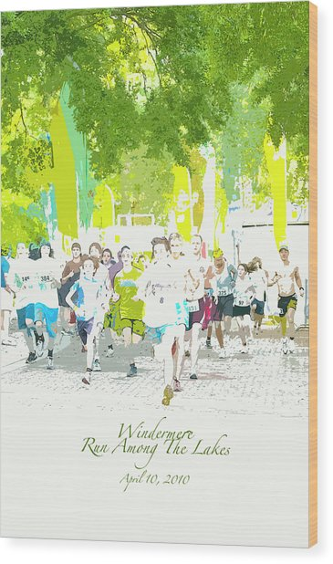 Run Walk Poster Wood Print