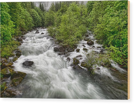 Rushing River Wood Print by Donna Caplinger