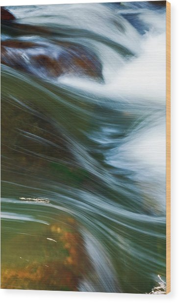 Rushing Water I Wood Print